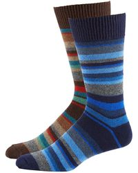 Punto - Men's Striped Knit Socks Two-pack Blue/brown - Lyst