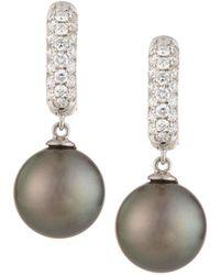 Belpearl - 18k Linear Diamond & Pearl Dangle Earrings - Lyst
