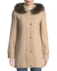 Ellen Tracy - Fox-fur Hooded Tweed Coat - Lyst