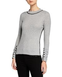 Laundry by Shelli Segal - Button-detail Scrunched-sleeve Fitted Knit Top - Lyst