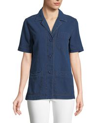 Leon Max - Basketweave Denim Short-sleeve Button-front Blouse - Lyst