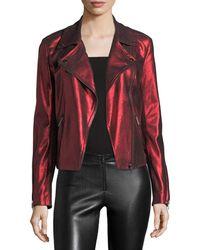 Neiman Marcus - Metallic Suede Motorcycle Jacket - Lyst