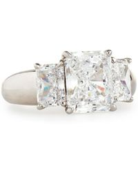 Fantasia by Deserio - Wide-shank Triple Radiant-cut Cz Crystal Ring Sizes 6-8 - Lyst