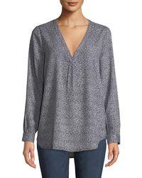 b2c17f78907ee Lyst - Joie Daryn Dot-print Long-sleeve Silk Blouse in Blue