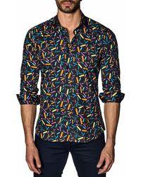 Jared Lang - Men's Semi-fitted Confetti-print Sport Shirt - Lyst