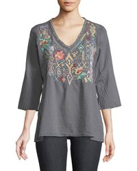 Johnny Was - Seeroon Embroidered V-neck Top - Lyst