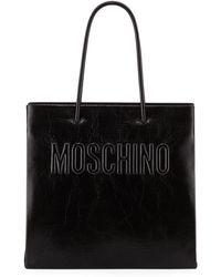 Moschino - Logo Shiny Tote Bag - Lyst