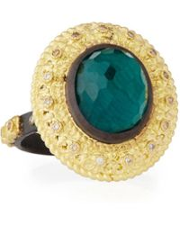 Armenta - Old World Oval Topaz & Malachite Doublet Stacking Ring W/ Champagne Diamonds - Lyst