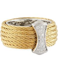 Alor - Classique Steel & 18k Diamond Micro Cable Ring - Lyst