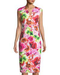 Cece by Cynthia Steffe - Tropic-floral Sleeveless Sheath Dress - Lyst