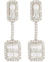 Roberto Coin - 18k White Gold Emerald-cut Diamond Earrings - Lyst