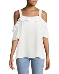 Cece by Cynthia Steffe - Cold-shoulder Crepe Ruffle Dblouse - Lyst