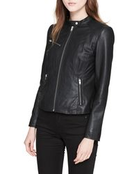 Marc New York - Classic Stand-collar Leather Moto Jacket - Lyst
