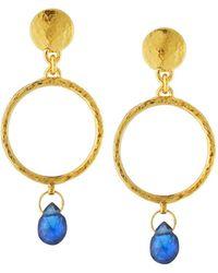 Gurhan - 22k Gold Captiva Circle Sapphire Drop Earrings - Lyst