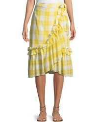 Red Carter - Plaid Ruffled Cotton Wrap Skirt - Lyst