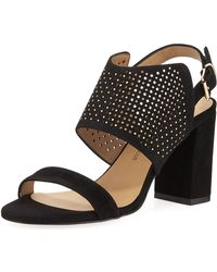 Neiman Marcus - Brae Perforated Suede Sandal - Lyst