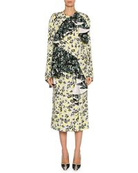 Marni - Mixed Pansy-print Long-sleeve Ruffle Midi Dress - Lyst