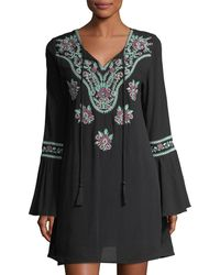 Chloe Oliver - Bell-sleeve Embroidered Dress - Lyst