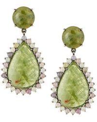 Bavna - Pale Green Sapphire Pear Drop Earrings - Lyst
