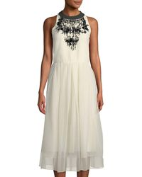 Brunello Cucinelli - Chain-neck Cotton Tulle Midi Dress - Lyst