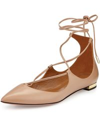 Aquazzura - Christy Lace-up Pointed-toe Flat - Lyst