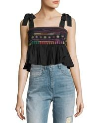 Saloni - Jools Ruffle Embroidered Crop Top - Lyst