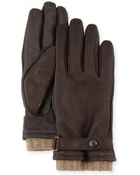 Neiman Marcus - Belted Leather Tech Gloves - Lyst