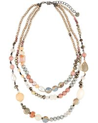 Nakamol - Crystal & Agate 3-strand Necklace Nude - Lyst