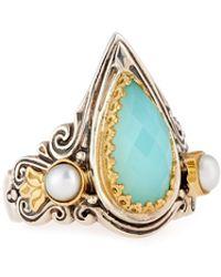 Konstantino - Amphitrite Teardrop Agate & Pearl Statement Ring - Lyst