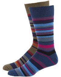 Punto - Men's Striped Knit Socks Two-pack Blue/green - Lyst