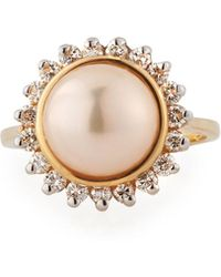 Belpearl - Peach Freshwater Pearl & Diamond Ring In 14k Gold - Lyst