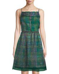 Leon Max - Fit-&-flare Plaid-print Silk Dress - Lyst