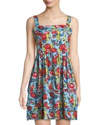 Romeo and Juliet Couture | Square-neck Floral Fit-&-flare Tank Dress | Lyst
