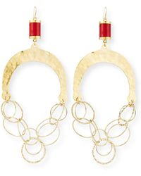 Devon Leigh - Hammered Chain & Coral Chandelier Earrings - Lyst