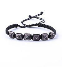 Jared Lang - Men's Pavé Crystal Pyramid Cord Bracelet - Lyst