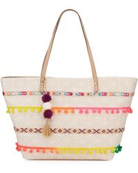 Neiman Marcus - Isabel Large Woven Pompom Tote Bag - Lyst