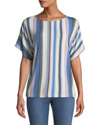 St. John - Blurred Multi-stripe T-shirt - Lyst