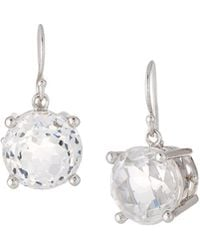 Elizabeth Showers - Rhodium-plated Silver Crown & Stone Drop Earrings In White Quartz - Lyst