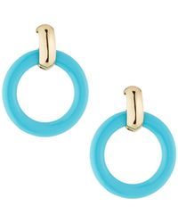 Kenneth Jay Lane - Round Doorknocker Drop Earrings Blue - Lyst