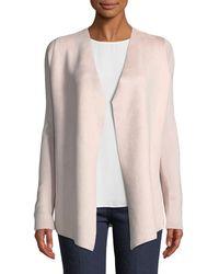 T Tahari - Streamlined Suede Sweater W/ Open Front - Lyst