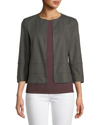 Lafayette 148 New York - Aisha 3/4-sleeve Poplin Jacket - Lyst