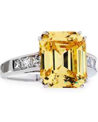Fantasia by Deserio - Emerald-cut Canary Cz Crystal Ring - Lyst