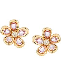 Roberto Coin - 18k Rose Gold Sapphire & Diamond Spring Flower Earrings - Lyst