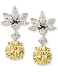Fantasia by Deserio - Canary Yellow Cz Drop Earrings - Lyst
