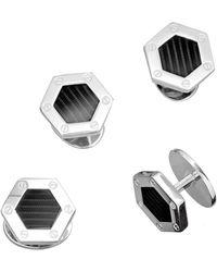 Jan Leslie - Engine Turn Hexagon Tuxedo Studs - Lyst