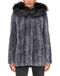 Gorski - Sectioned Mink Jacket With Fox Trim Hood - Lyst