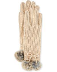 Neiman Marcus - Knit Gloves With Rabbit Fur Pompom - Lyst