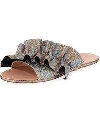 6a85cab347d1 Lyst - Michael Kors Bella Ruffled Metallic Slide Sandal in Metallic