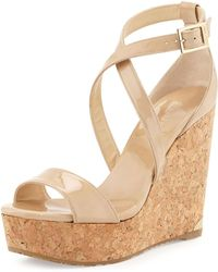 07993d610937 Lyst - Jimmy Choo Fearne Patent Crisscross Wedge Sandal in Natural