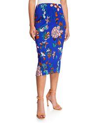 65b217c50 Diane von Furstenberg Suede Side-slit Pencil Skirt in Blue - Lyst